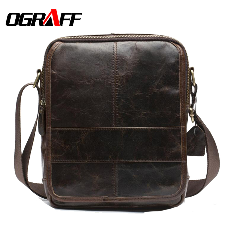 ФОТО OGRAFF Genuine leather bag men messenger bags business Handbag Cowhide High Quality Crossbody Shoulder Travel Briefcase Men Bag