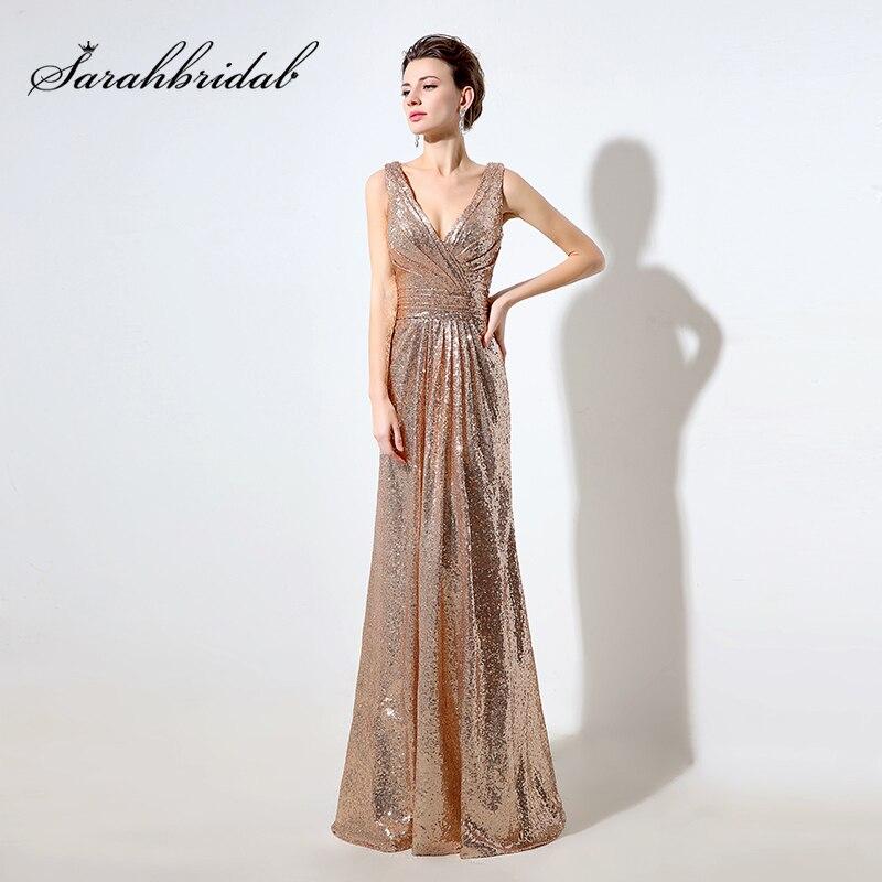 Cheap Rose Gold Sequin Bridesmaid Dresses Long 2019 Deep V Neck Sparkly Gala Dress V Back