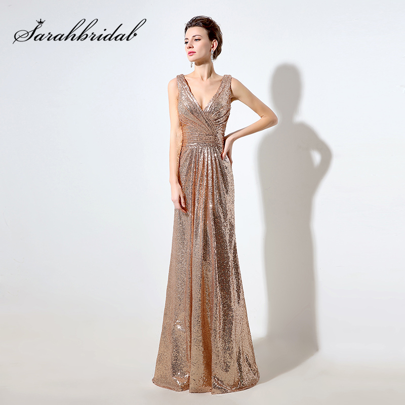 Cheap Rose Gold Sequin Bridesmaid Dresses Long 2019 Deep V-Neck Sparkly Gala Dress V Back Wedding Guest Gowns For Women SD326