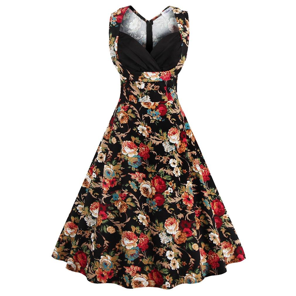 2017 Plus Size Women's 50s Vintage Dress Pin Up Hepburn Retro V-neck Cotton Golden Floral Swing Feminine Rockabilly Vestidos