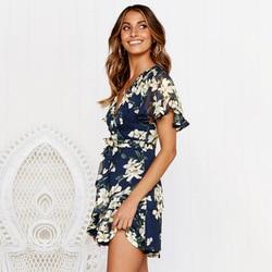 Sexy V Neck Mini Sukienka kobiety kwiatowy z krótkim rękawem Sashes lato sukienki tunika wysokiej talii panie Sundress kobiet Vestidos Sukienka 3