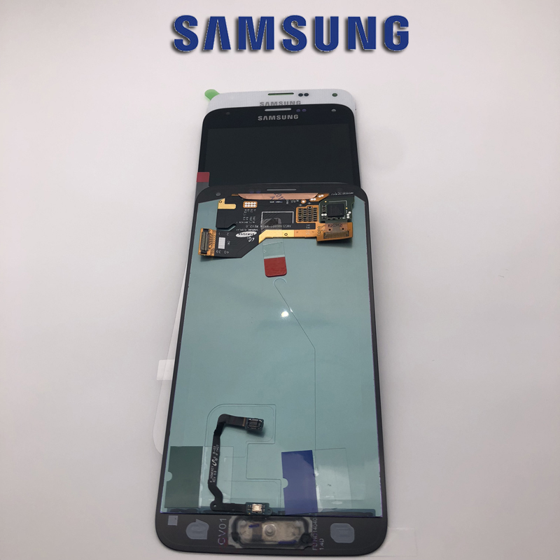 Original 5.1'' SUPER AMOLED LCDs For SAMSUNG Galaxy S5 LCD Display i9600 G900 G900F G900M G900H SM G900F Touch Screen +Button