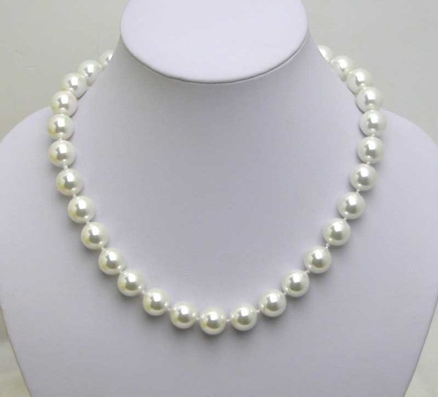 "Beautiful! 12MM high luster Perfect Round white Shell Pearl 18"" NECKLACE -5036 Wholesale/retail Free shipping"
