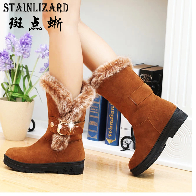 2017 boots women autumn winter snow women boots high quality warm shoes women mid calf female flat boots DT630 snow boots free delivery of autumn and winter high quality 100