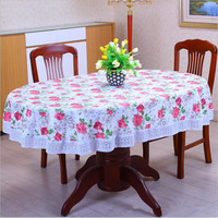1Pcs 152x203cm New Thicken Oval Pastoral Style Wave lace PVC waterproof Anti oil tablecloth home/hotel table cover decoration