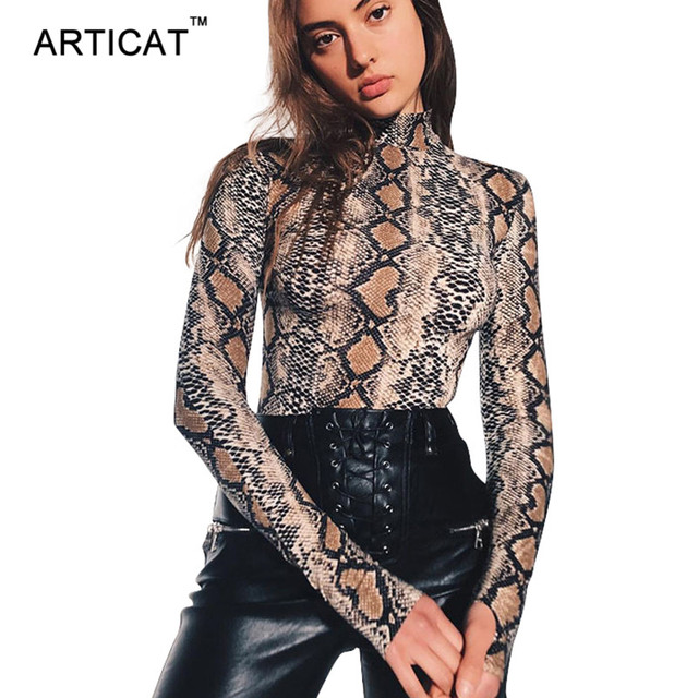 3661ae70ac4 Articat Fashion Snake Print Bodysuit Women Tops Autumn Long Sleeve Bodycon  Rompers Womens Jumpsuit Party Club Playsuit Overalls