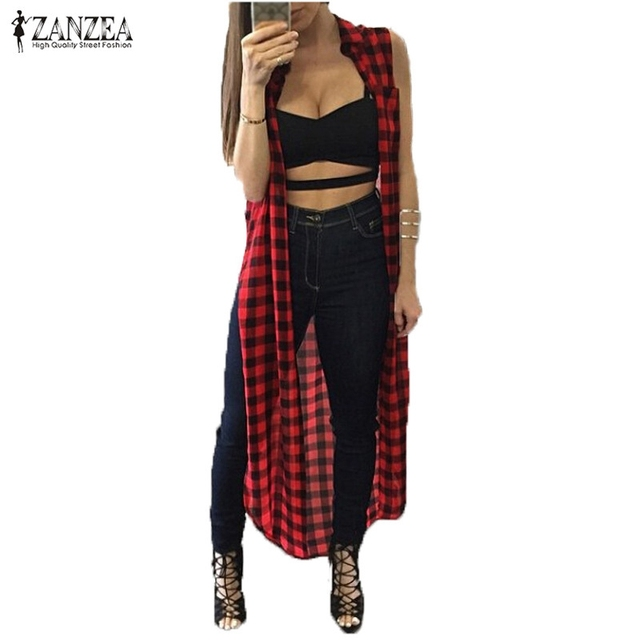c6eb8e0f Blusas 2018 Summer Korean Style ZANZEA Women Casual Loose Long Plaid  Blouses Sleeveless Split Shirts Lapel Tops Cardigan Coats