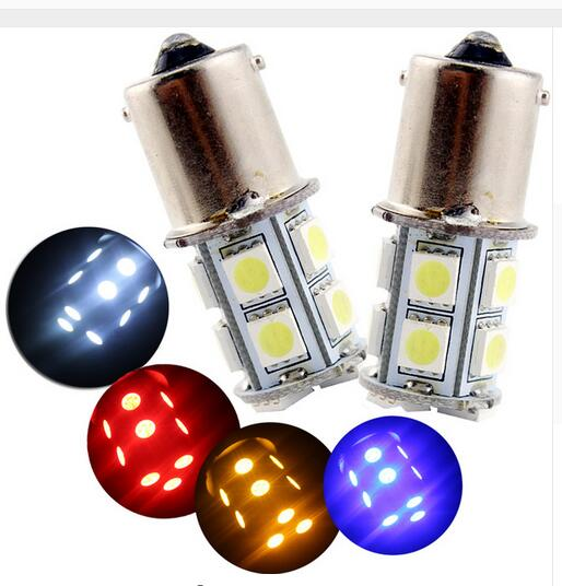 2PCS x 1156 382 BA15S p21w <font><b>led</b></font> <font><b>light</b></font> bulb 13 smd 5050 Brake Tail Turn Signal <font><b>Light</b></font> Bulb Lamp 12V red image