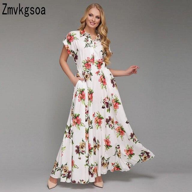 7a5b913fe2 Aliexpress.com : Buy Zmvkgsoa Robe Vestidos Boho Women Short Sleeve Long  Summer Casual Dress Plus Size 5XL 6XL Vintage Maxi Dress With Pockets Y4007  ...