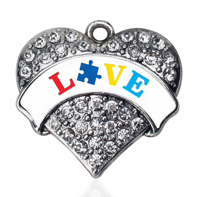 Metal alloy silver plating rhinestone love puzzle piece awareness metal alloy silver plating rhinestone love puzzle piece awareness autism heart charm pendants custom made available aloadofball