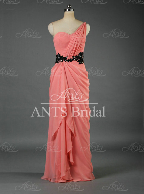 New Arrival One Shoulder Crystal Pink Chiffon Long Prom Dresses Lace Black Belt GW036