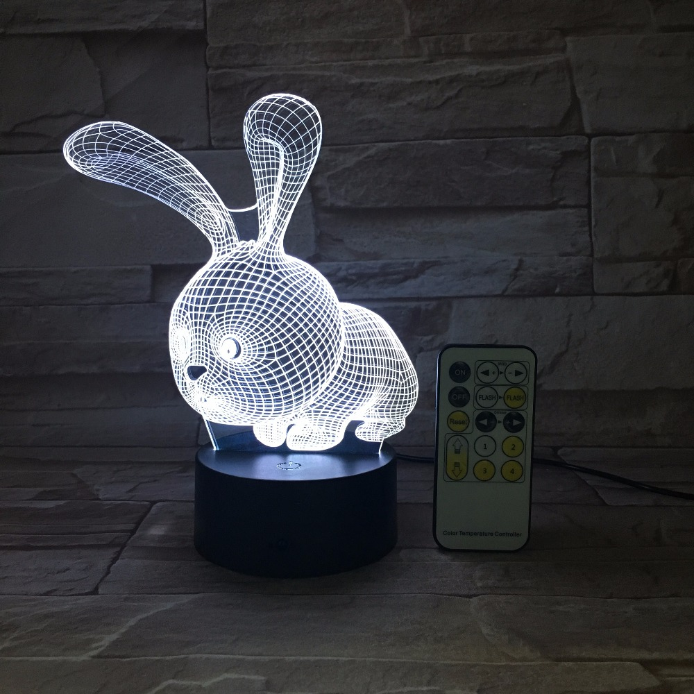 Lovely 7 Colors 3D Rabbit Shape LED Lamp Atmoshpere Light with Switch Lamp as Children's Holiday Gifts Remote Or Touch Control