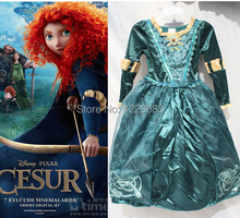 цена на Free shipping ,Children Brave Princess Merida Dress Kids Cosplay, Halloween Party Dress Up Girls Merida Costume