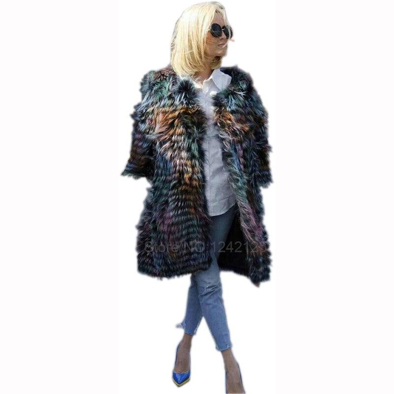 New autumn winter women fashion warm Luxurious genuine fur Raccoon fox woven fur coat striped coat Outdoor big Loose fur jacket