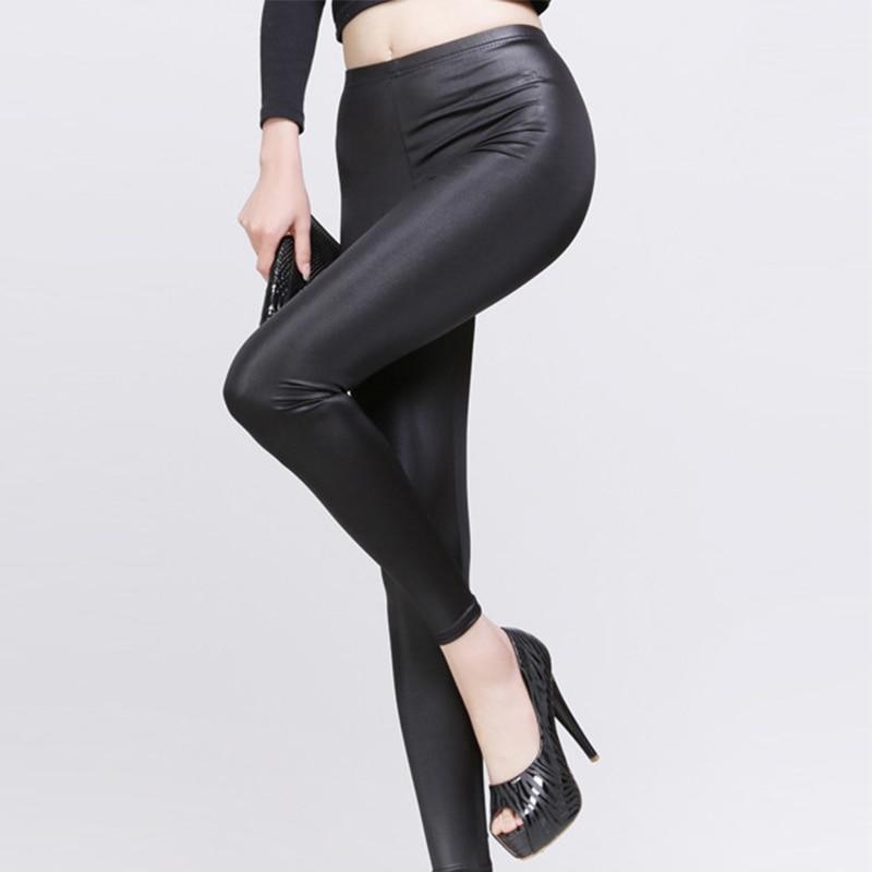 New Fashion Women Nylon Leggings High Waist Stretch Skinny Shiny Pants Slim Fit Legging Autumn Trousers LXH