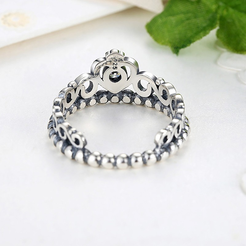 Smooth Band 925 Sterling Silver Ring Crown Ring