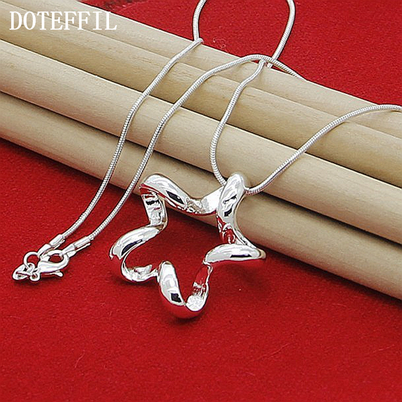 DOTEFFIL 925 Sterling Silver Starfish Pendant Necklace 18/20/22/24 Inch Snake Chain For Women Fashion Wedding Engagement Jewelry