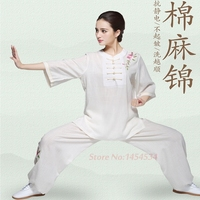 Women Clothing Peony Embroidery Cotton and Linen Tai Chi Clothing Women' S Cotton Linen Tai Chi Martial Arts Practice Uniforms