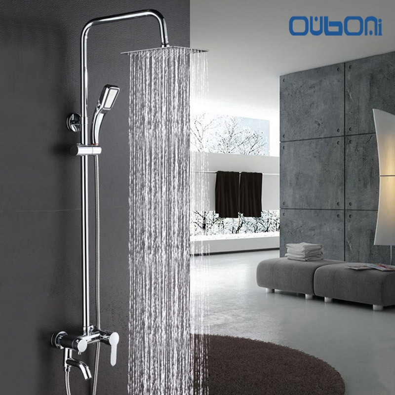 OUBONI  Wall Mount Shower Set Torneira Bathroom Shower Head With Hand Shower Spray Rainfall Bathtub Chrome Sink Faucet Mixer Tap faucet bathroom handheld shower bathtub mixer tap polished chrome wall mount big rain shower set mixer hot