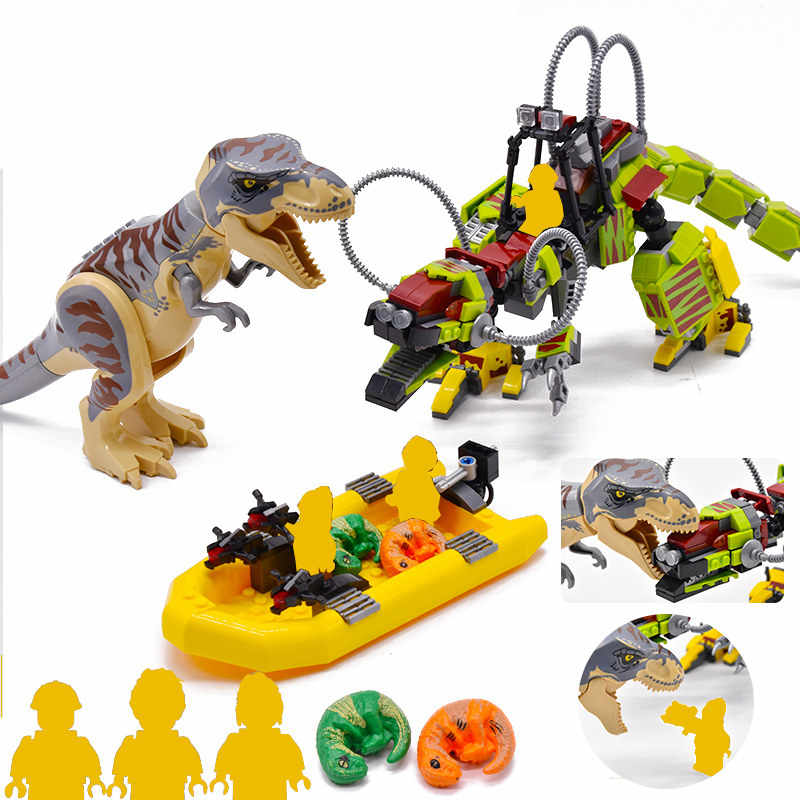 526pcs+ Jurassic World T. rex vs Dino-Mech Battle 2 Dinosaur Figures Dino Building Blocks Bricks Compatible Toys Boys