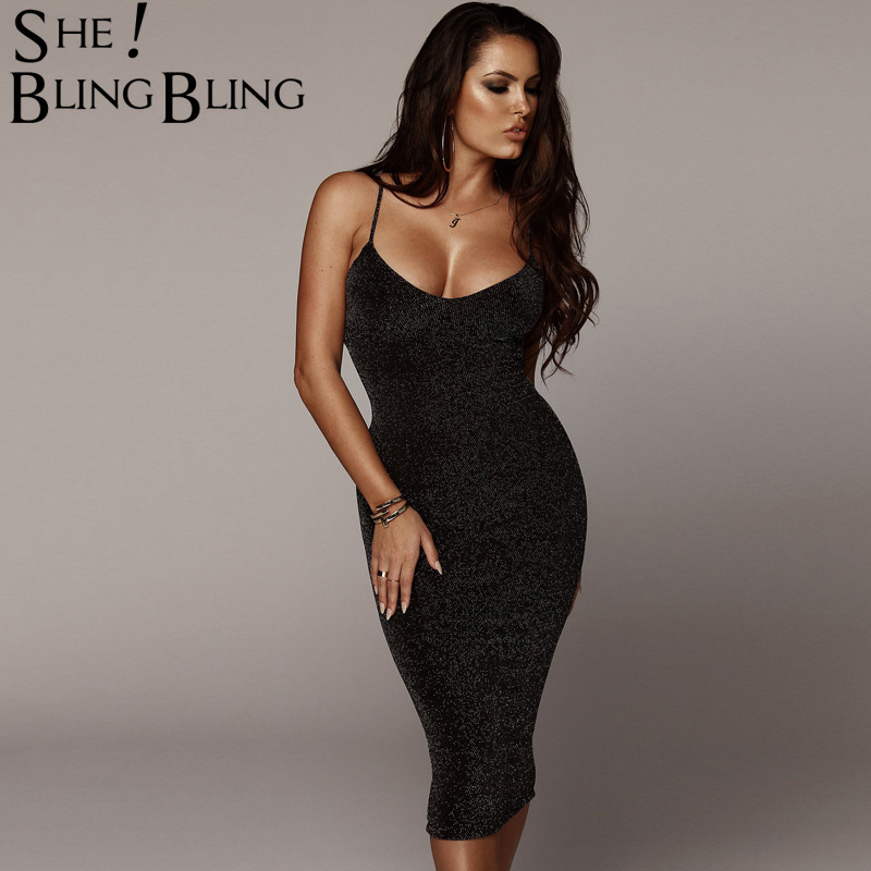 2fbc410f79c Sheblingbling Glitter Knit Women Party Dress Spring Summer Sleeveless Sexy  Bodycon Midi Dress Deep V Straight