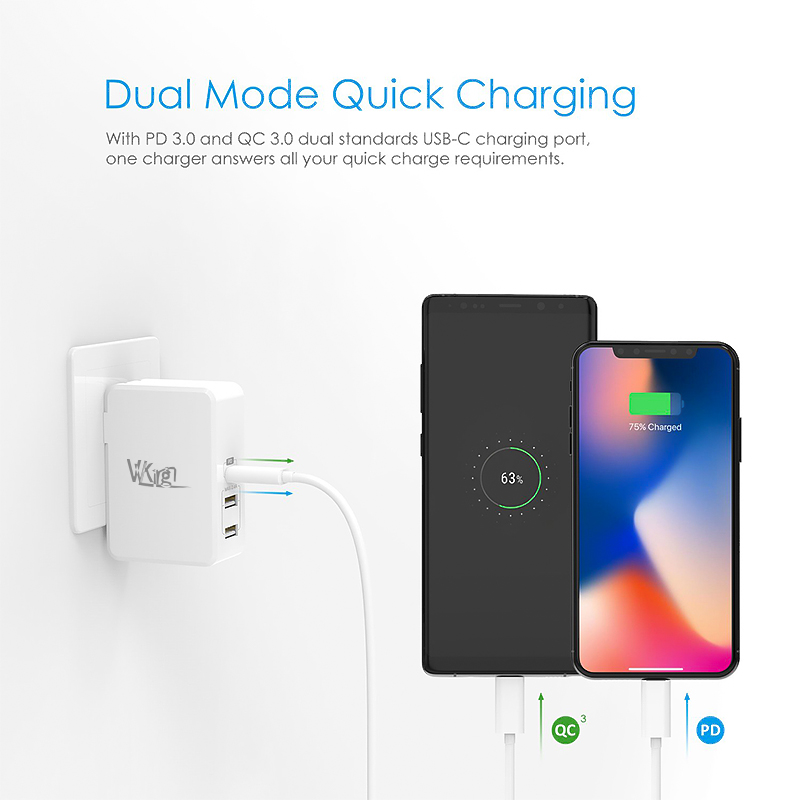 For Apple iPhone Charger USB Type C PD 3.0 Fast Charger 41W Charging EU US Plug Wall Charger For iPhone 11 Pro Max 18W PD Charge