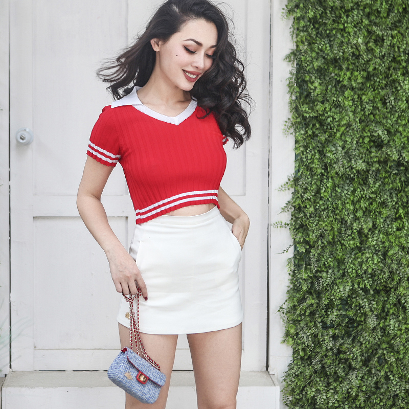 2018 Summer Preppy Style Short Knitted Wear Women Slim Breathable Low Cut Type Striped Threaded Cotton Top Contrast Color