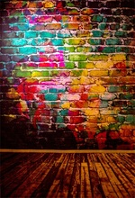 Laeacco Brick Wall Colorful Wooden Planks Board Baby Birthday Party Portrait Photo Background Photography Backdrops Studio