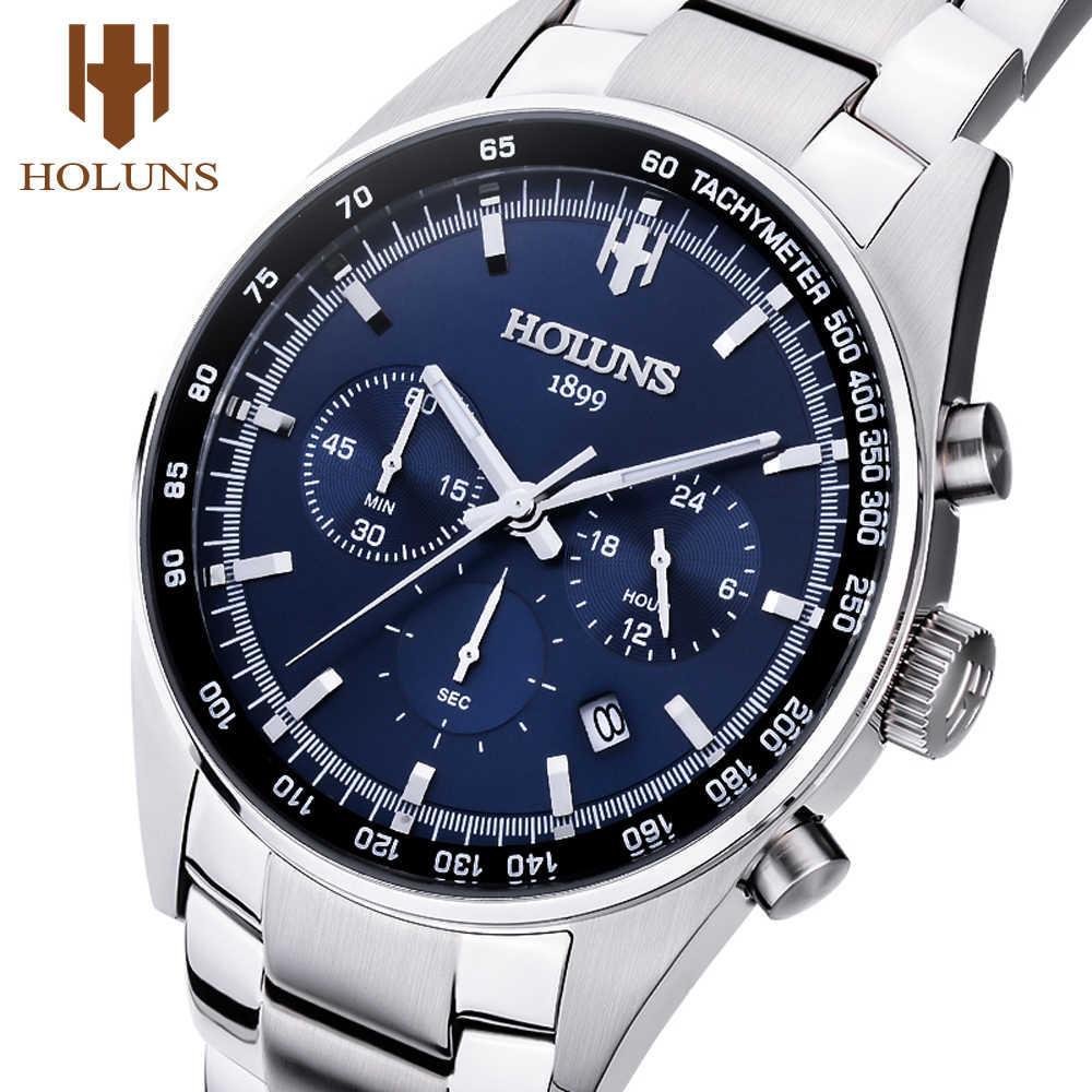 ec5f88942370 Holuns Для мужчин спортивные наручные часы-хронограф нержавеющей часы Мода  кварцевые Мужской военный Водонепроницаемый часы