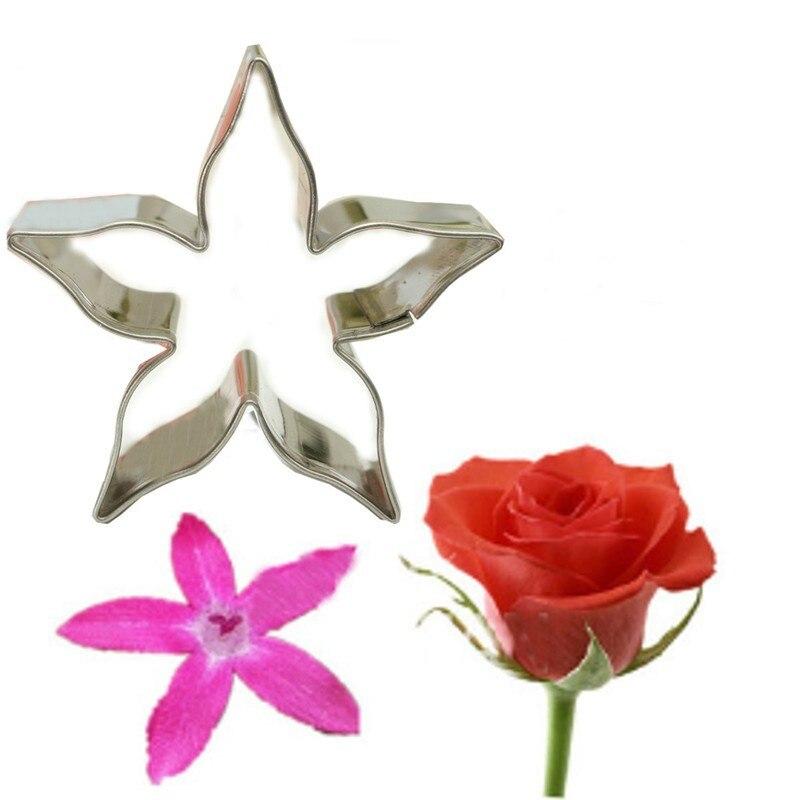 Нержавеющая сталь щепотку цветы помадка торт инструмент Роза колодка Пентас Форма Cookie плесень