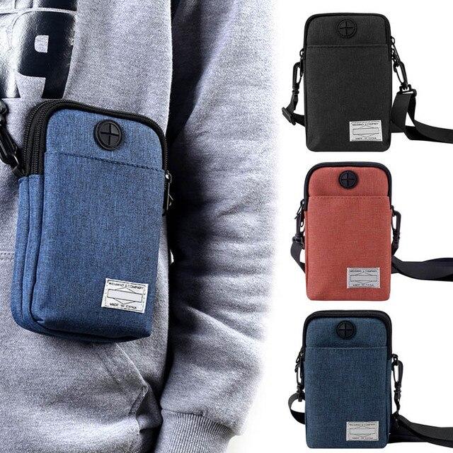 2018 New Casual Men Multifunctional Waterproof Phone Bag Mini Crossbody Bags with Earphone Hole WML99