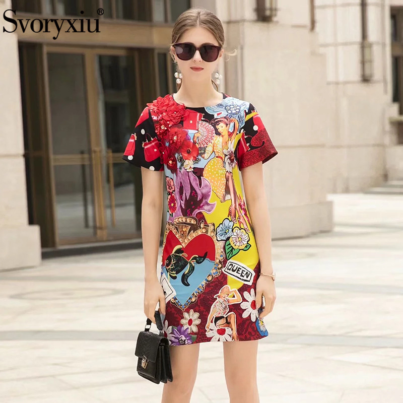 Svoryxiu Summer Runway Dresses Women s Fashion Applique Beading Exquisite Printing Party Mini Dress Vestido