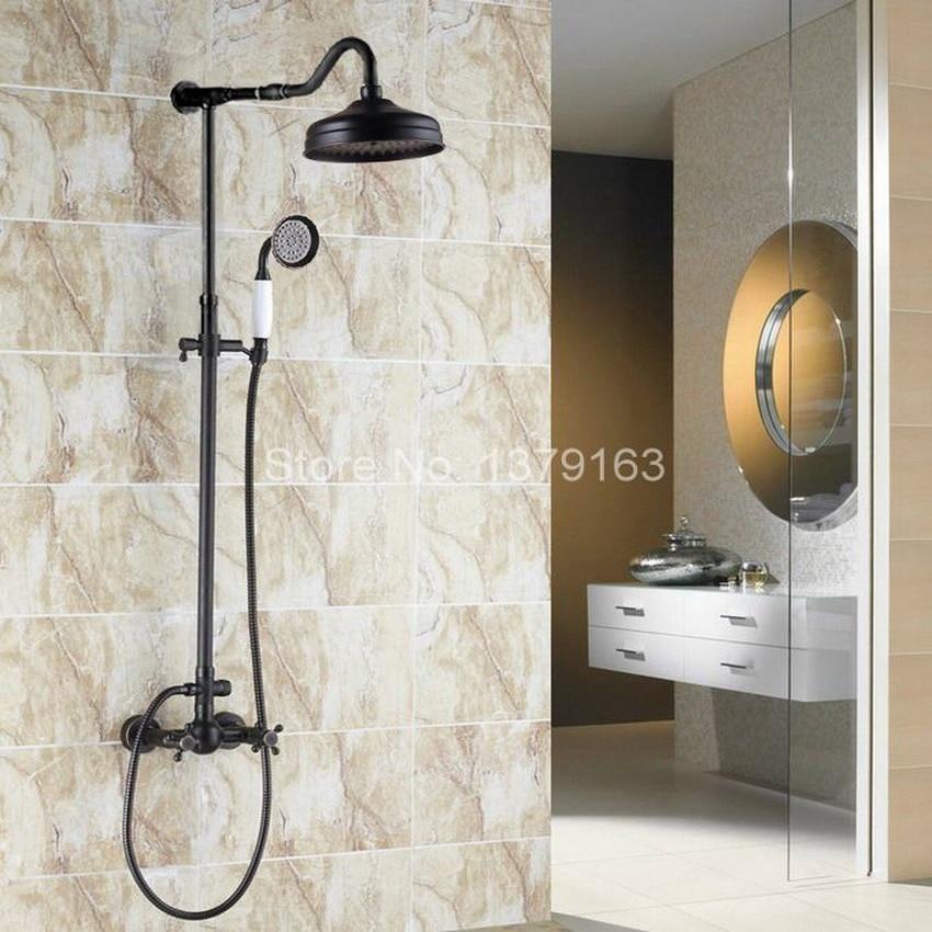 Bathroom Black Oil Rubbed Bronze Wall Mount Rain Shower System Rain ...