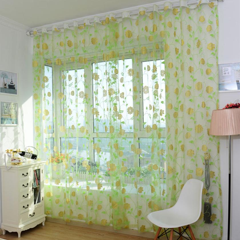 Leaves decorative new tulle curtain 200*100CM classic line sheer tulle curtains for balcony window blind vanlance room divider