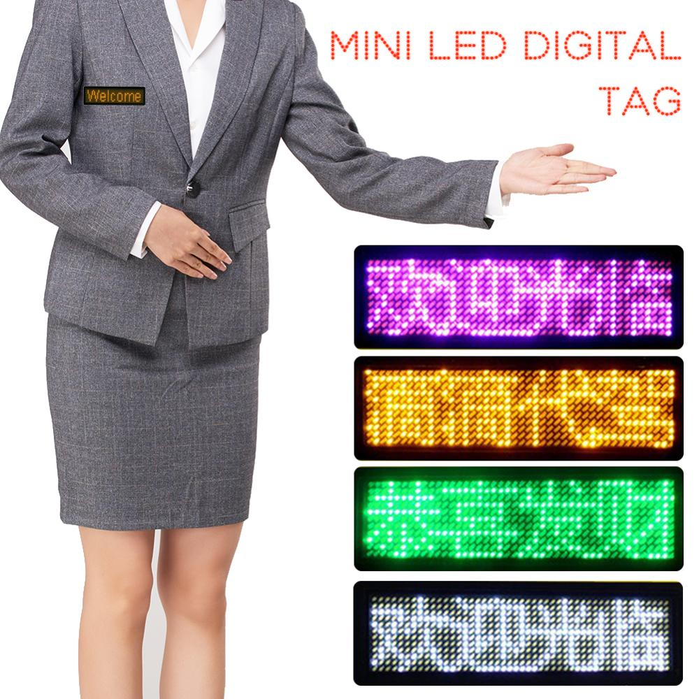 Brief Rechargeable Led Name Tag Mini Digital Bluetooth APP Programmable Scrolling Message Tag Badge Sign Support All Languages