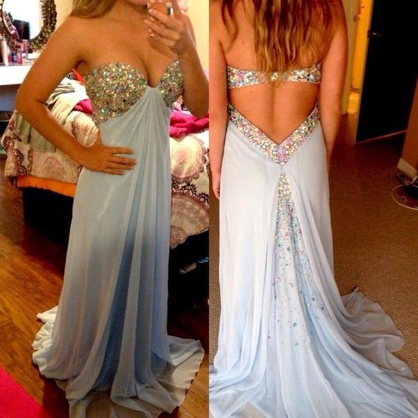 New Arrival Baby Blue Long Prom Dresses With Chiffon Beaded Backless Sweetheart Neck Plus Size Evening Party Gowns