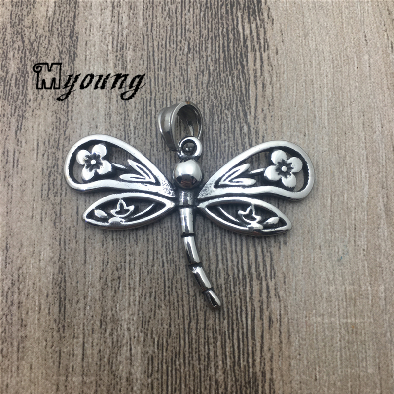 Distress Dragonfly Shape Stainless Steel Pendants For Necklace Cute Animal Charms For DIY Jewelary MY1911
