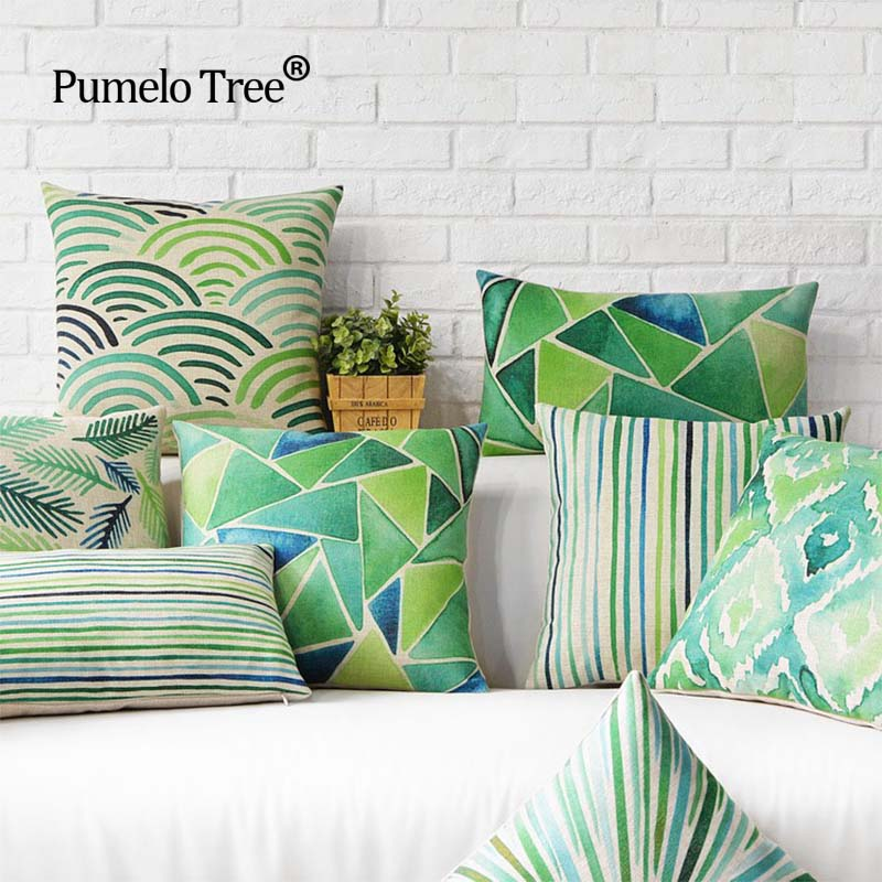 Decorative throw pillows case cover Green watercolor Nordic Style Simple Feather Leaf Cotton Linen Cushion Cover For Sofa Home