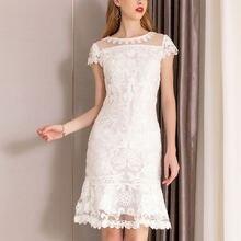 Женское кружевное платье карандаш pixy белое абрикосового цвета