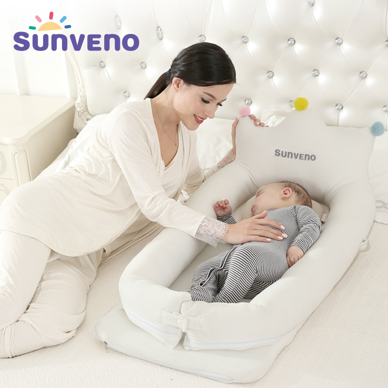 Sunveno Baby Co Sleeping Crib Bed Portable Baby Crib Foldable Mobile Car Bed Travel Nest Cot
