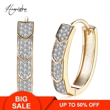 Arrow Full Paved Clear CZ Creole Earring, Yellow Gold Plated European Romantic Jewelry Gift For Women TF 137E