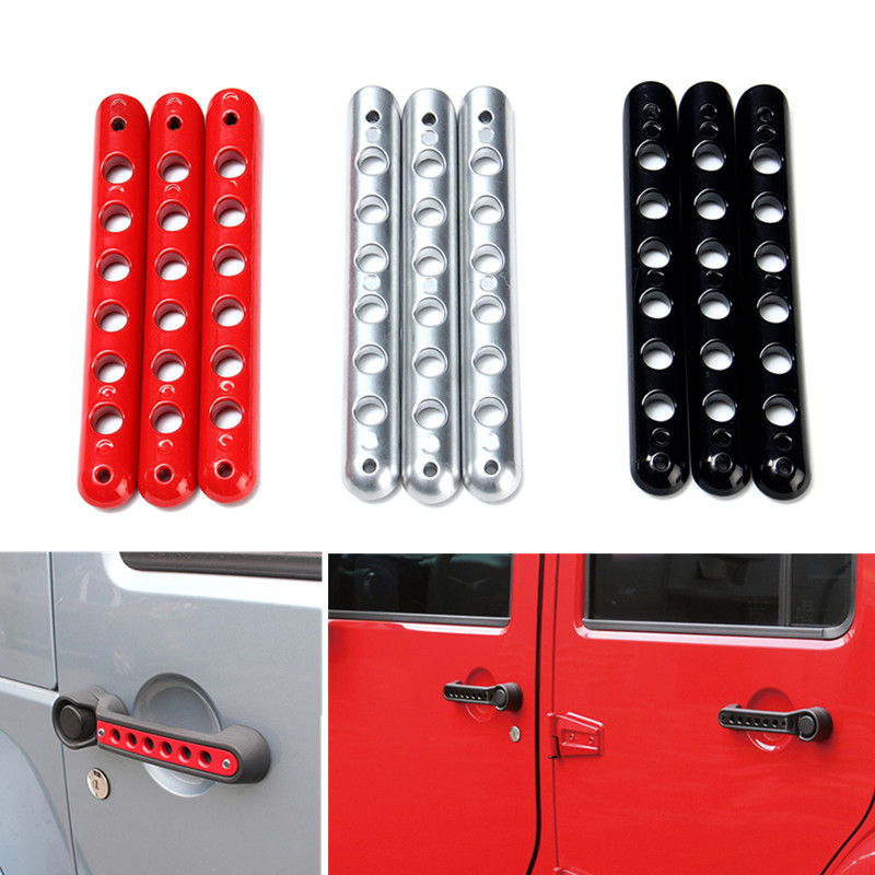 Aluminum Door Handle Tailgate Trim Insert Cover Red For Jeep Wrangler JK 2 Door