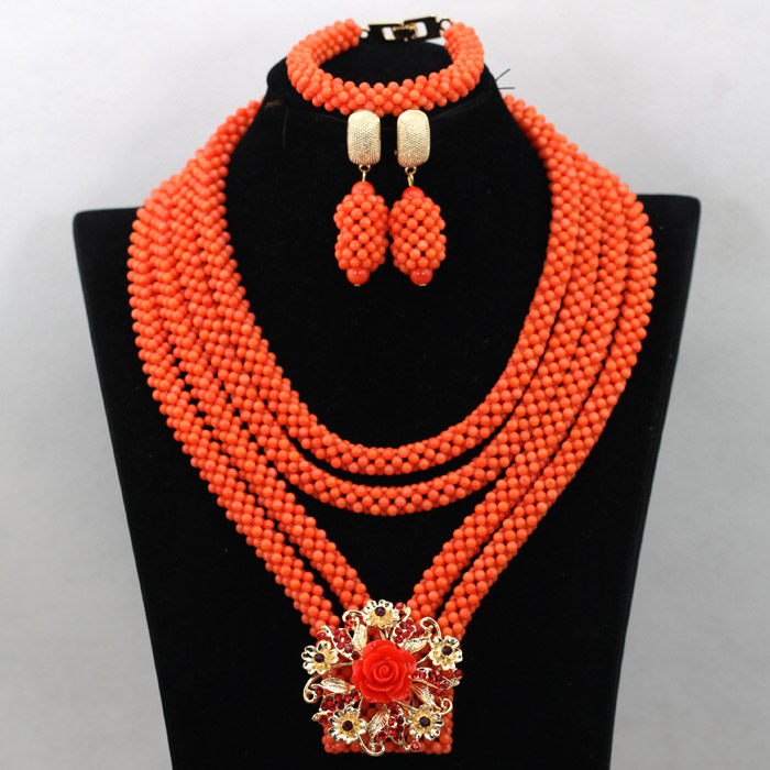 Charming African Orange Coral Bridal Necklace Set Nigerian Handmade Chunky Wedding Bride Anniversary Necklace Jewelry Sets QW357Charming African Orange Coral Bridal Necklace Set Nigerian Handmade Chunky Wedding Bride Anniversary Necklace Jewelry Sets QW357