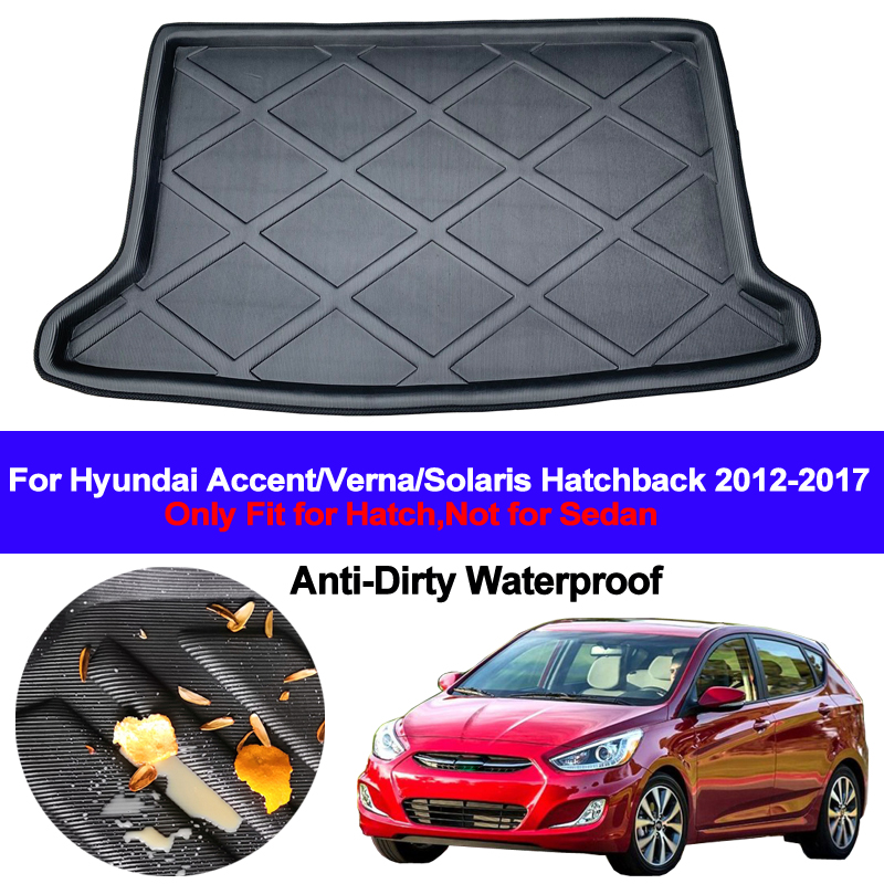 Rear Boot Cargo Liner Tray Trunk Luggage Floor Mat Pad Carpet Anti-dirty For Hyundai Accent Solaris Verna 2012 - 2017 Hatchback