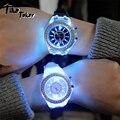 Led-Blitz Leuchtende Uhr Persönlichkeit trends studenten liebhaber gelees frau männer uhren 7 farbe licht Armbanduhr
