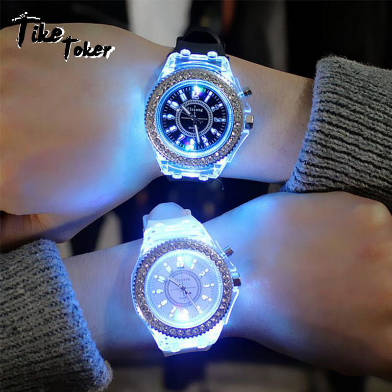led Flash Luminous Watch Personality trends students lovers jellies woman mens watches 7 color light WristWatchled Flash Luminous Watch Personality trends students lovers jellies woman mens watches 7 color light WristWatch