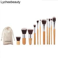 Face Blending Brush Kit 11 Pcs Makeup Brushes Set Bamboo Handle Eyeshadow Foundation Concealer Blush Brush