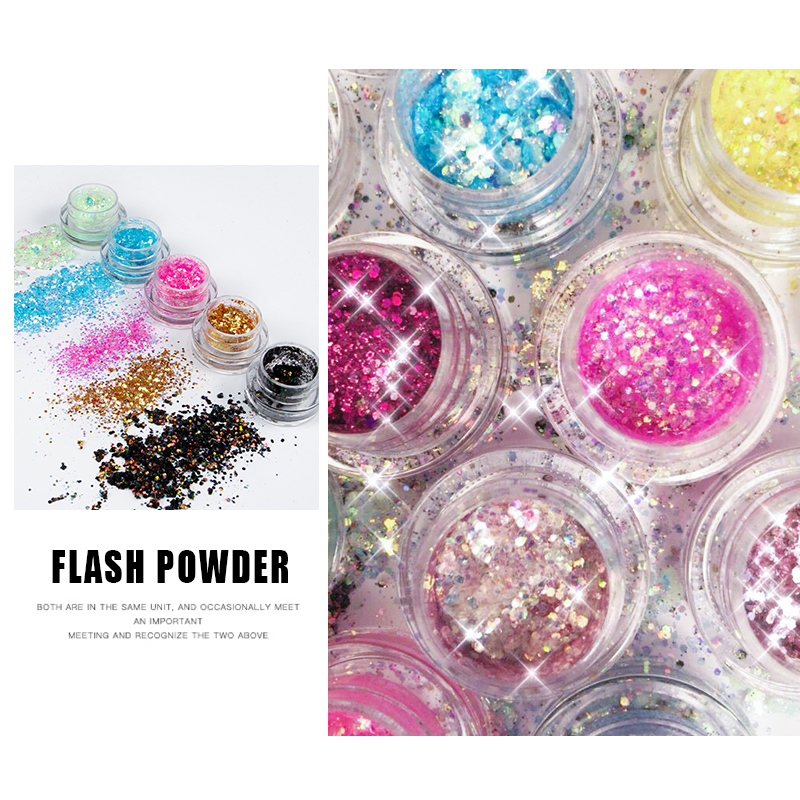 Eyes Sequins Glitter Powder Party Makeup Shining Sequined Colorful Face Eyes Lip Body Hair -3610
