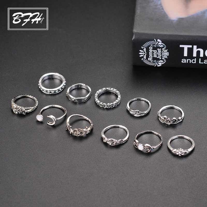 BFH Fashion Charm Roses <font><b>Rings</b></font> for Women Girl Wedding Party Vintages Leaf Carving Totem 11 Pcs/Set Noble <font><b>Ring</b></font> Jewelry Wholesale