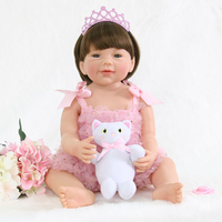 New Arrival Washable Full Body Silicone Reborn Baby Girl Dolls Toys for Children Girl Boy Bedtime Play with Plush Cat Doll Toys